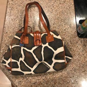 EYC Dooney & Bourke Giraffe Linen bag. Rust trim.